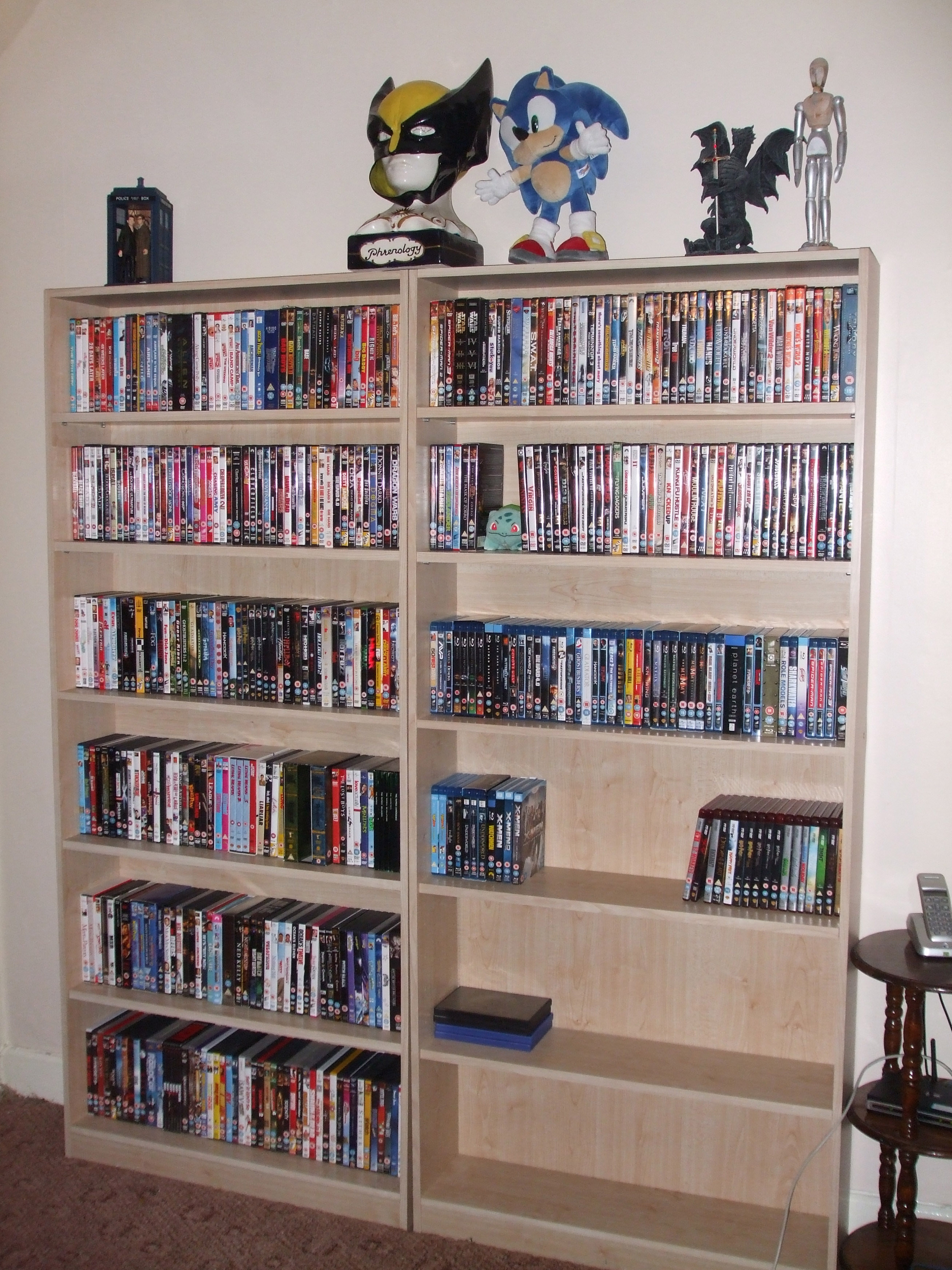 Actually Doesnt Look Much Because Of The Space Between Shelves But There Are Over 500 Films Here On DVD Blu Ray And HD